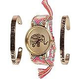 Beauty7 Relojes Tejido y Pulsera con Raya de Multicolor Costumbre Popular Elefante Hilado para Mujeres con 2 Pulsera Metálico Elegante Moda Bonita