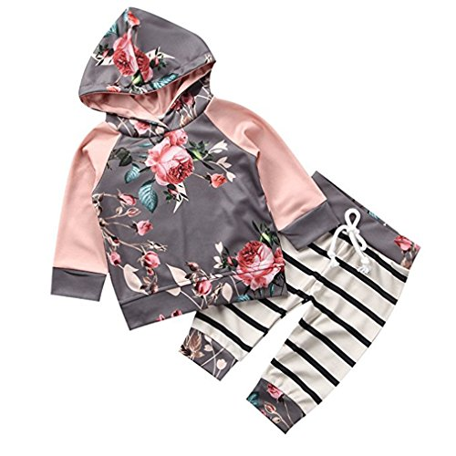 Chicolife Baby Girl Sweet Floral Hoodie Trousers Sets 2pcs with Striped Pants Sweatshirt Outfit Clothes