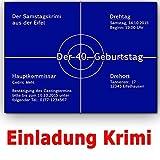 Einladungskarten Krimi Ideal für Mottoparty Tatort Einladung Geburtstag (20 Stück)
