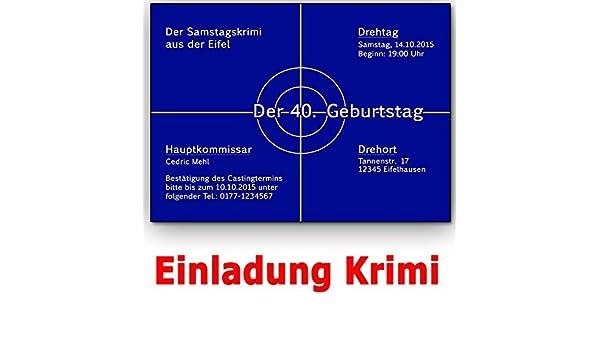 Einladungskarten Krimi Ideal Für Mottoparty Tatort Einladung Geburtstag (20  Stück): Amazon.de: Bürobedarf U0026 Schreibwaren