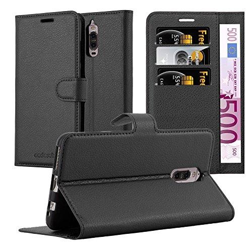 Cadorabo Hülle für Huawei Mate 9 PRO - Hülle in Phantom SCHWARZ - Handyhülle mit Kartenfach & Standfunktion - Case Cover Schutzhülle Etui Tasche Book Klapp Style