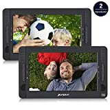 Pumpkin 10.1 Pulgadas 2 Reproductores DVD Portátil para Coche, Soporta Tarjeta SD/USB (hasta 128 GB de Forma FAT32), Región Libre, 5 Horas de Reproducción de la Batería con Mando a Distancia