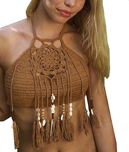 Monika Donne Estivo Costumi da Bagno Sexy Halterneck Senza Schienale Bende Bikini Crop Top con Frange Swimwear Moda Uncinetto Swimsuits Beachwear Tankini