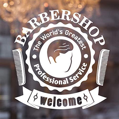 yiyitop Friseur Kamm Wandaufkleber Vinyl Mann Friseur Wandtattoo Fenster Schönheitssalon Haarschnitt Styling Abnehmbare Haarschnitt DIY 42 * 43 cm -