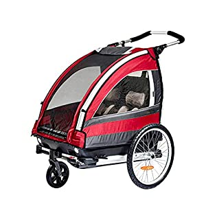 CHEERALL Children Bicycle Trailer Collapsible 2-Seater Multifunctional Jogger Stroller with 360° Rotatable Wheel Childs Bike Trailer Transport Buggy Carrier for 2 Kids   3