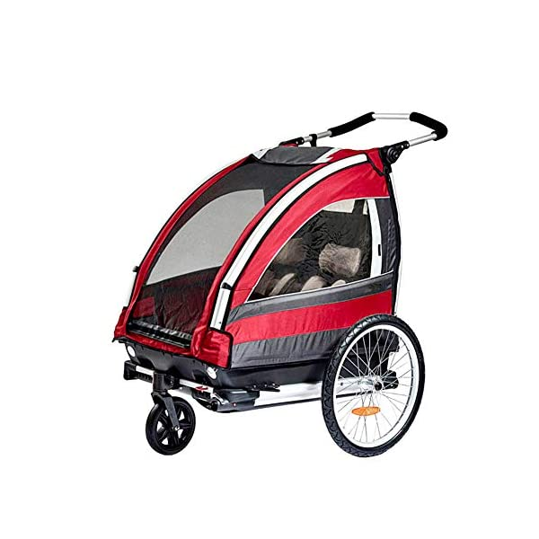 CHEERALL Children Bicycle Trailer Collapsible 2-Seater Multifunctional Jogger Stroller with 360° Rotatable Wheel Childs Bike Trailer Transport Buggy Carrier for 2 Kids CHEERALL FOR TWO CHILDREN: The Bicycle Trailer offers a safe and comfortable seat for one to two children from the age of 12 months. The large transparent side windows allow the children to keep an eye on their surroundings and get to know each other while driving. ADJUSTABLE BACKREST & ADJUSTABLE PUSH HANDLE:The backrest can adjust to fit baby's sleep posture to keep comfortable sleeping. Ergonomically designed 6-section adjustment handle for different people's needs. SAFETY WHEELS & 5-POINT SAFETY BELTS:Front wheel 360° rotation for easy to control direction. Sensitive braking system to keep your child safe. The 5-point safety belt is equipped with each seat to ensure security while keeping your baby fit to the safety belt to feel comfortable. 1