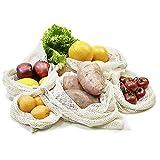 achilles Sacchetti per frutta e verdura, sacchetto in tessuto, sacchetto per la spesa, set di 6 sacchetti per la spesa con custodia (diverse dimensioni 2 X XL, 2 X L, 1 X M + 1 X sacchetto per il pane) riutilizzabili, rete per la spesa senza plastica in 100% cotone.