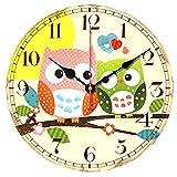 VieVogue Reloj de pared, Reloj de Pared de Cuarzo Estilo Toscano Vintage silencioso Retro Reloj de Madera Sin Tictac (Búho, 34cm)