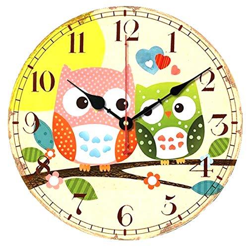 VieVogue Wanduhr, Holz Küchenuhr mit großem Ziffernblatt aus MDF, Retro Uhr im angesagtem Shabby Chic Design mit leisem Quarz-Uhrwerk (Eule, 34cm)