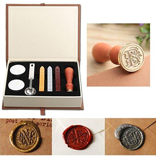 PUQU, Siegelwachs-Set, Vintage-Initialen A bis Z, Siegelstempel mit Wachs, Geschenk-Box