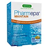 Pharmepa MAINTAIN Omega-3 EPA & DHA Fish Oil 1000 mg Super Strength Dose, 80% concentration, pharmaceutical-grade wild fish oil & virgin evening primrose oil with vitamin D3 for heart health, brain function, mood balance and vision, 60 capsules