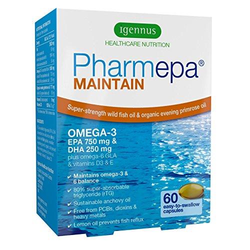 L'huile de poisson oméga-3 Pharmepa MAINTAIN, forte dose de 1000mg d'oméga-3 EPA & DHA par prise, huile de poisson de qualité pharmaceutique & huile d'onagre bio avec de la vitamine D pour la santé du cœur, la fonction cérébrale, l'équilibre de l'humeur et la vision, 60 capsules