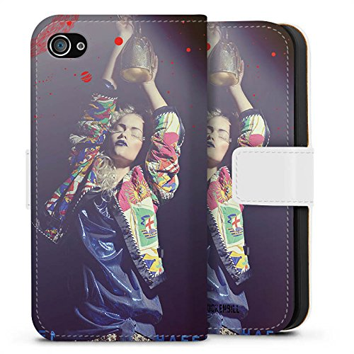 Apple iPhone X Silikon Hülle Case Schutzhülle Frau Jacke Tanzen Sideflip Tasche weiß