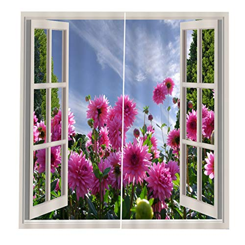 EdBerk74 150 * 166 cortinas para sala de Estar Dormitorio Cortinas Flores rosadas Impreso Sombrilla de sol Estilo de jardín Rosa