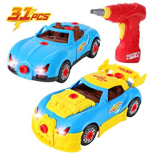 SGILE Montage Spielzeug Auto, Konstruktionsspielzeug Rennwagen Set für Kinder, Take Apart Spielzeugauto mit Lichter und Musik, BAU Spielzeug mit Werkzeug Bohrer für Kleinkind Kindergeschenk (Bau-spielzeug Für Kinder)