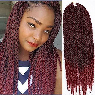 GANTA @ La Havane boîtes Tresses Crochet Twist cubique Tresses Twist Extensions de cheveux Kanekalon Cheveux Tressée , black/purple