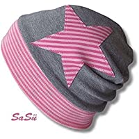 Kinder Mütze KU 53-55 grau rosa
