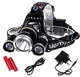 Siensync 5000 Lumen LED Kopflampe, super helle wasserdichte 4 Modi Kopflampe, 3x CREE XM-L XML T6 Led Stirnlampe, Scheinwerfer Taschenlampe für Outdoor Reiten Nachtangeln Wandern Camping
