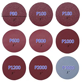 Goodchanceuk, 3-zoll-(7,5Cm)-schleifscheiben-papier, Klettband-schwingschleifer-ballen, Körnung: P80, P100, P180, P600, P800, P1000, P1200, P2000, P3000. 1