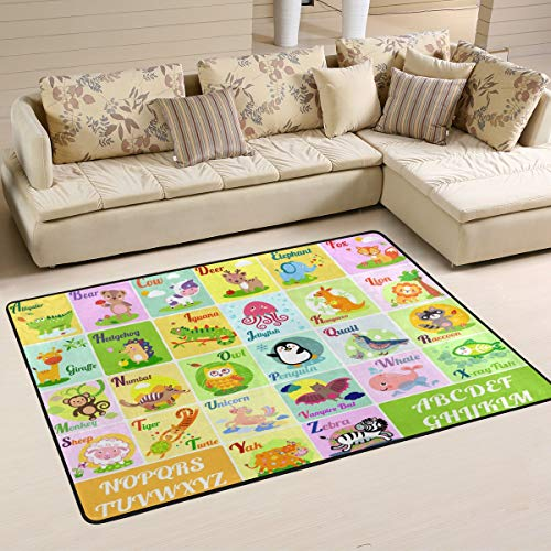 xianghefu Personalisierte Bereich Teppiche ABC Alphabet mit Tieren Kids 3'x2' Fußmatten Matte...