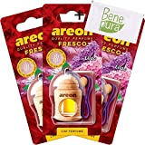 AREON Auto-Lufterfrischer Parfüm Fresco 4 ml - Fliederfarben-duft - Hängende Flasche Diffusor mit Echtholzdeckel, langlebig, Set von 3