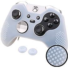 Pandaren® TACHONADO silicona Fundas antideslizantes para Tanto Xbox One Elite y Estándar Mando x 1 (blanco) + thumb grip x 2