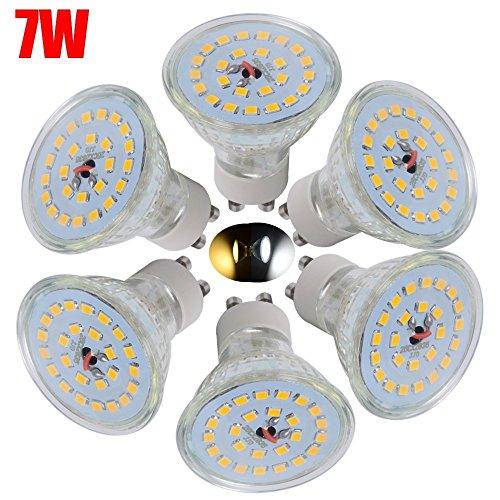 6er Set GU10 LED Lampen, ersetzt 60W Halogenlampen, 7W 560lm, Warmweiß, 3000K, 120° Abstrahwinkel, 20LEDs 2835SMD LED Leuchtmittel [Energieklasse A+]