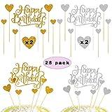 Sunshine smile Happy Birthday Cake Torte Topper,Glitter Geburtstag Kuchen Topper,Happy Birthday tortenstecker,Glitzer Cupcake Topper für Geburtstagsfeier Dekoration (28 Stück)