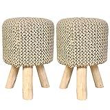 Sitzhocker 2er Set Strick-Polster-Hocker Pouf Schemel mit Holzfüßen Ø 35 cm Höhe 45 cm Farbe beige