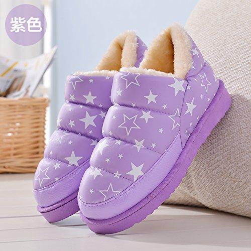 DogHaccd pantofole,Bambini pantofole di cotone cuoio e rabboccato il grazioso inverno uomini e donne calde del genitore-figlio di una famiglia di tre baby soft pacchetto spessa con scarpe di cotone Star viola3