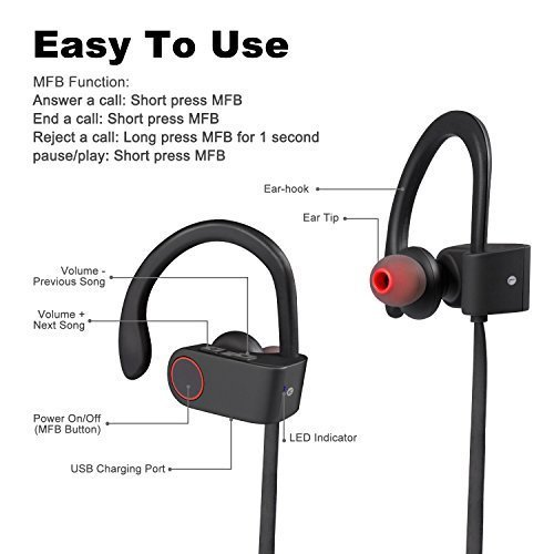51b1134ad1d Jyoti Bluetooth 4.1 Wireless Stereo Sport Headphones Headset Running Jogger  Hiking Exercise Sweatproof Hi-Fi