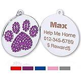 TagME Personalisierbare Hundemarke mit Glitzerpfotenabdruck; für Kleine und mittelgroße Hunde und Kätzchen, Laserdruck, 1.0