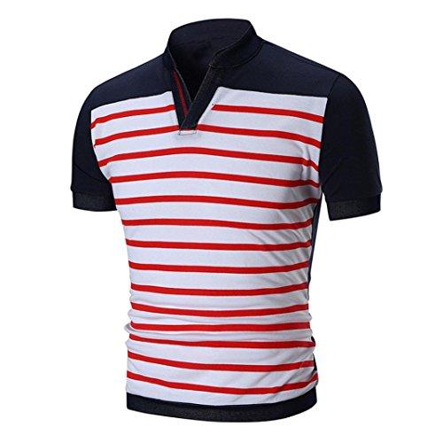 T-shirt da uomo _ feixiang estate uomo maniche corta girocollo t shirt stampa strisce camicetta maglietta da uomo camicie da uomini tees manica corta tops maniche corte polo (rosso, xl)
