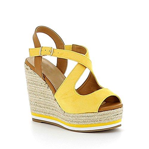 Sandale compensée en suédine Jaune