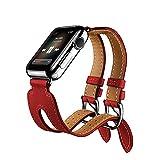 Für Apple Watch iWatch Armband 38mm/42mm, Kobwa Double Buckle Cuff Leder Apple Watch Band Wirstband Bracelet für Apple Watch Series 1/2