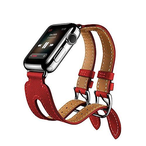 Preisvergleich Produktbild Für Apple Watch iWatch Armband 38mm/42mm, Kobwa Double Buckle Cuff Leder Apple Watch Band Wirstband Bracelet für Apple Watch Series 1/2