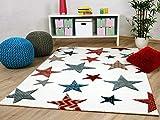 Maui Kinder und Jugend Teppich Creme Sterne Bunt in 5 Größen