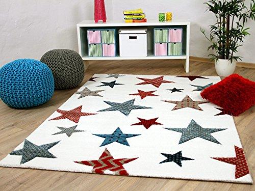 Maui Kids - Tapis pour enfant - motif étoiles multicoloré crème, Taille:160x230 cm