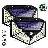 Bicolor Luce Solare Esterno, 100 LED Lampada Solare con Sensore di Movimento [ 270° Illuminazione] Impermeabile Wireless Luci Solari da Parete Lampade Solari di Sicurezza per Giardino, 2 Pezzi