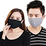 Lot 3 PCS Masque Anti-Poussière/Smog Elastique Adulte Confortable Filtre Pollen Masque Charbon Activé Antibactérien Hygiénique Avec Boucle d'Oreilles pour Femme/Homme Unisexe