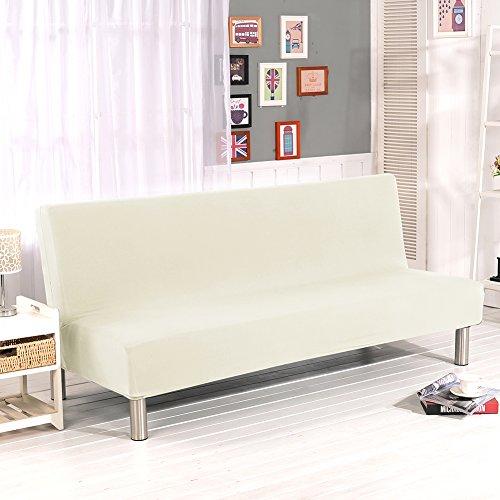 Lembeauty Farbe Armless Sofa Bezüge, Polyester Spandex Stretch Stoff Strechhusse Sitzer Couch Displayschutzfolie passend für Bett zusammenklappbar Sofa ohne Armlehnen beige