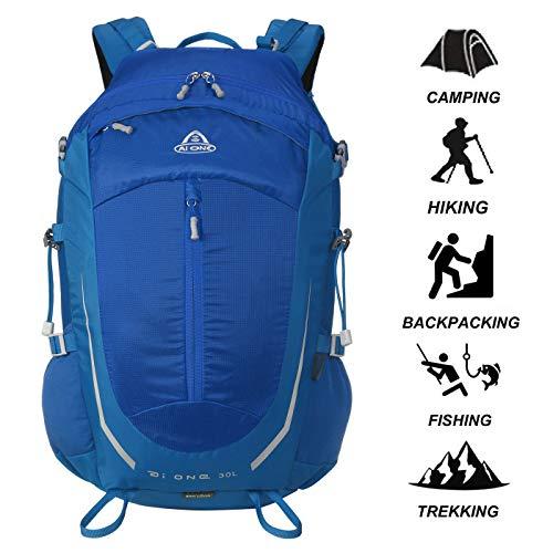 Aione 30L Impermeable Mochila de Senderismo Mochilas de Trekking Viaje Escalada Marcha con Cubierta de Lluvia para Acampar de Montañismo Alpinista Al Aire Libre