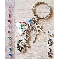 Handmade Personalised Unicorn Initial Rainbow Keyring Bag Charm with Genuine Crystal