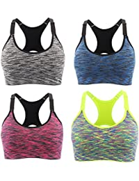 f12f29f2b669d Srizgo Sports Bra Pack of 1 or 4 Seamless Bras Padded Comfortable Yoga Bras  with Adjustable Straps Push up for…