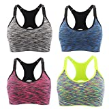 Srizgo Sports Bra Pack of 1 or 4 Seamless Bras Padded Comfortable Yoga Bras with Adjustable Straps Push up for Yoga Fitness Exercise (Grey Blue Red Yellow)