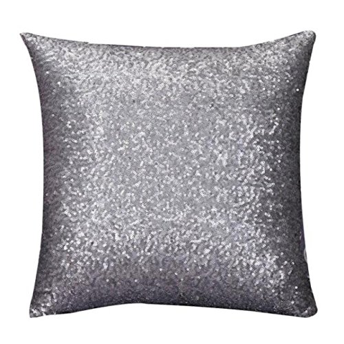 Indexp Glitter Sequins Solid Color Pillowcase Home Decor Sofa Cushion Cover (Gray/45x45cm)