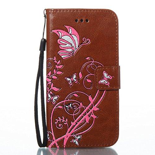 Cover iPhone 7 Rosa Caldo, Custodia iPhone 7, YingC-T iPhone 7 Custodia a Libro Flip Magnetica e Porta Carte di Credito con Cordino Bracciale Elegante Colorato Stampato Farfalla Fiori Design Skin pu P Marrone