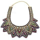 Collar - SODIAL(R)Mujer Retro Perlas Diamantes de imitacion Multicolor por exagerada etico Diseno Collar de aleacion