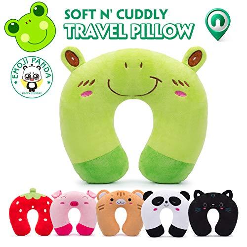 Cuscino da viaggio per bambini homewins cuscino cervicale ultra morbido cuscino cervicale animali per dolori cervicali sonno per seggiolino auto rav plane - rana verde