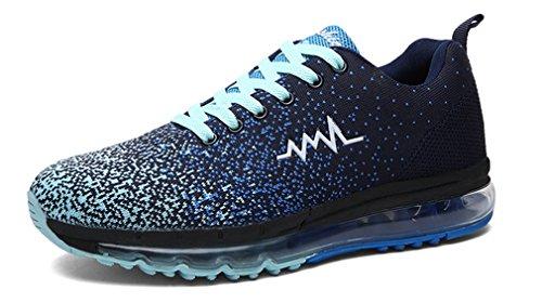 NEWZCERS alta qualità formatori maglia da corsa di modo degli uomini atletici a piedi scarpe da ginnastica di sport Blu scuro